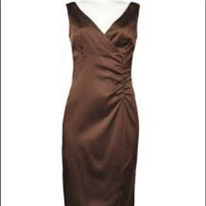DONNA RICCO NY Brown Ruched Dress Size 8